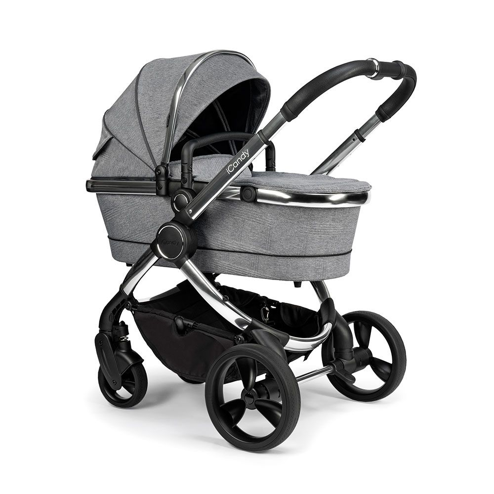 iCandy Peach Pushchair & Carrycot - Chrome Light Grey Check